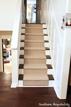 Painting Stairs and Adding Runners..I would love to rip off the carpet and do this.