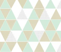 Mint Taupe Dot Triangles fabric by tycdesignco on Spoonflower - custom fabric