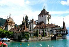 Oberhofen Castle Located in Lake Thun