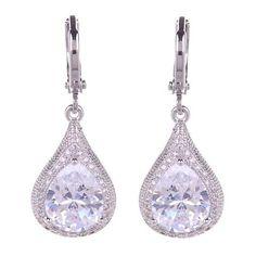 d4a0f0ea3 Makenzie Clear Crystal Tear Drops Unique Earrings, Bridal Earrings, Tear  Drops, Clear Crystal