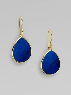Rich, bold lapis surrounded by radiant 18k gold in a beautiful teardrop shape.
