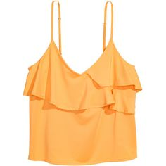 Ruffled Camisole Top $9.99 (600 RUB) ❤ liked on Polyvore featuring tops, cami top, ruffle cami top, yellow top, frilly tops and yellow cami top