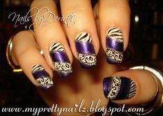 My Pretty Nailz: Animal Print Nail Art Stamping Design and Video Tutorial - Konad Nail Art, Fun Nail Art, Metallic Purple Nail Art, Zebra Print Nails, Urban Nail Art, Zebra and Leopard Nail Art, Purple Animal Print Nails
