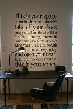 via Pella, words, space, create My New Room, My Room, Think Small, My Art Studio, Office Walls, Home And Deco, Art Of Living, Home Office, Study Office