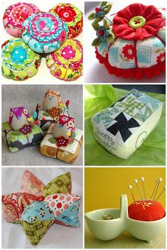Delightful collection of fabric pincushions - especially the owls :)