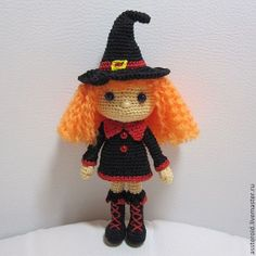 Items similar to Handmade Crochet doll. Little witch. on Etsy Halloween Toys, Halloween Crochet, Crochet Gifts, Crochet Dolls, Crocheted Toys, Doll Patterns, Crochet Patterns, Yarn Over, Amigurumi Doll