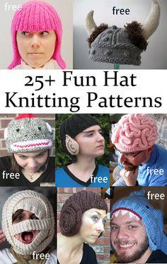 Fun Hat Knitting Patterns free novelty costume hat knitting patterns -- great for gifts and Halloween!