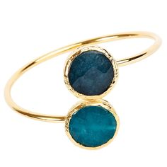 Showcase your inner earth goddess with this gold-plated dyed chalcedony bangle bracelet. Two stones with exquisite shades of oceanic blues are framed by soft gold plating. An open cuff bangle design makes for easy wear.