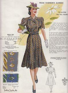 c. 1940s Fashion Frocks grey tan yellow gold day dress