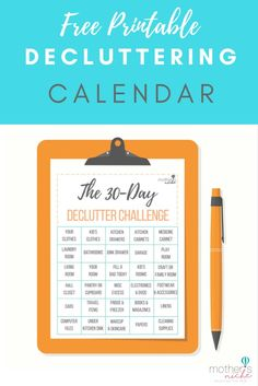 Free Printable Decluttering Calendar for the 30 Day Declutter Challenge