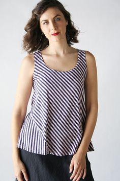 diagonal stripe with inset Product Image: Gore Tank Stripe  in Cut Loose Clothing: Cut Loose Spring 2015