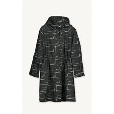 A Wim print coat in black and white with a front two-way zip closure and drawstrings at the hood and waist. It has side slit pockets and rounded side slits at the above-knee hemline; made of polyester.