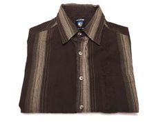 Kuhl L Men's Brown Stripe Short Sleeve Button Front Shirt Large #Kuhl #ButtonFront