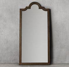 RH's Levico Leaner Mirror:We fashioned the curves and angles of classic French design in reclaimed solid oak, in a weathered black finish characterized by natural distressing and a defined grain. Restoration Hardware Mirror, Leaner Mirror, Natural Bedding, Elegant Living Room, Luxury Bedding Sets, Modern Bedding, Floor Mirror, Black Mirror, Solid Oak