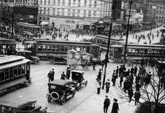 Detroit's Campus Martius bustles with activity in this undated photo from the early 20th century. (Detroit News Archives)
