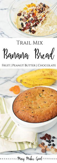 Trail Mix Banana Bread, chocolate chip banana bread, chocolate peanut butter banana bread