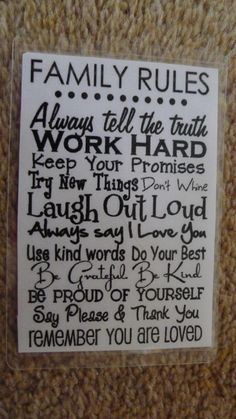Laminated Wallet Size Inspirational Quote/Message Keepsake Cards -  Family Rules on Etsy, £2.50
