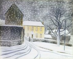 "englishmodernism: ""Eric Ravilious Halstead Road in the snow. I wish it would snow! David Hockney, Charity Christmas Cards, Xmas Cards, Winter Szenen, Winter Magic, Magic Realism, Snow Scenes, A4 Poster, Poster Prints"
