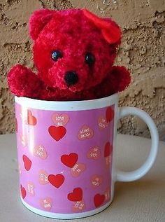 Sweet Hearts Candy Coffee Cup Mug Teddy Bear Mulberry Collection