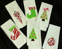 Bowhead Hairbows and Christmas Hand Towels, Christmas Kitchen Towels, Christmas Stockings, Christmas Applique, Christmas Sewing, Christmas Embroidery, Applique Templates, Applique Ideas, Embroidery Ideas