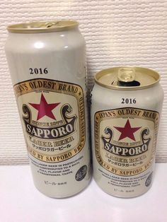 SAPPORO Lager Beer Old Design Japanese beer can top opened 350ML 500ML empty