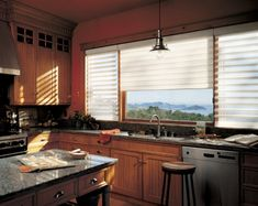 Complement the efficiency and function of a well-designed kitchen with Pirouette® window shadings ♦ Hunter Douglas window treatments Eclectic Window Treatments, Contemporary Window Treatments, Custom Window Treatments, Honeycomb Blinds, Honeycomb Shades, Viking Kitchen, Stone Kitchen, Hunter Douglas Blinds, Electric Blinds