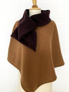 cape femme col croisé noeud laine cachemire liberty mode caramel carreaux hiver couture création