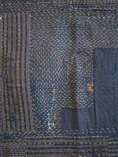 Sashiko stitched & heavily layered boro kotatsu (brazier) cover Courtesy of… Sashiko Embroidery, Japanese Embroidery, Embroidery Stitches, Shibori, Japanese Textiles, Japanese Fabric, Textile Fabrics, Textile Art, Broderie Simple