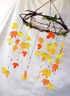 So beautiful. Love the sticks instead of wire like - Quilled Paper Art Autumn Crafts, Autumn Art, Nature Crafts, Holiday Crafts, Autumn Leaves, Diy And Crafts, Crafts For Kids, Arts And Crafts, Decoration Creche