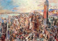 Oskar Kokoschka, New York, Manhattan with Empire State Building. 1966