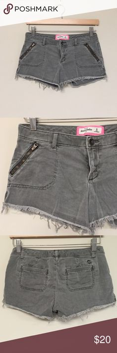Abercrombie grey fringe shorts Abercrombie grey shorts with frayed hems. Super cute and in great condition. Abercrombie & Fitch Shorts