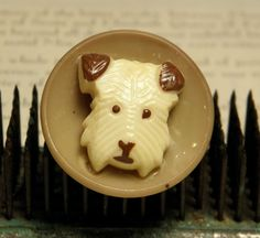 "Vintage Celluloid Dog Head Button. okay, that""s cute"