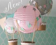 Skurrile Heißluftballon Dekoration DIY-Kit rosa grau & weiß, Kinderzimmer Dekoration, Unisex Baby Dusche Dekor, Reisen Thema Kindergarten - 3er-set