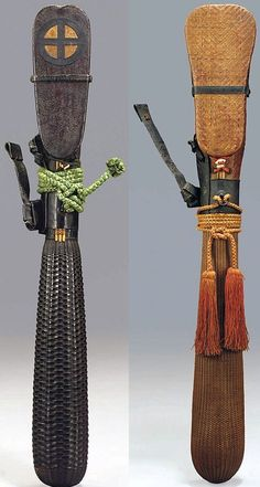 Rattan arrow quivers (utsubo) Edo period (17th-18th Century), Japan.  brown woven rattan, 39in. (99cm.) long, Japan