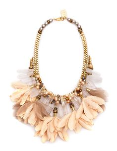 "lizzie fortunato jewels  CALIFORNIA DREAMING NECKLACE  Editor's Pick--Tamara Rappa, O, the Oprah Magazine.   Gold-plated   Rock crystal quartz, labradorite, peach fabric, pearls  Length 18""  Necklace falls 4""  Closure, Lobster claw"