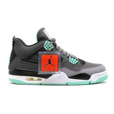 best loved d6e13 36d9f Authentic Air Jordan 4 Retro Dark Grey Green Glow-Cement Grey-Black (Women  Men Gs Girls) For Sale,Jordan-Jordan 4 Shoes Sale Online