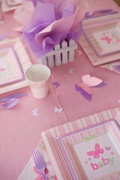 Unique Butterfly Baby Shower Supplies and Decorations. Set To Celebrate with Butterfly theme Baby Shower Centerpieces, personalized Baby Shower Banners, Butterfly Invitations Butterfly Baby Shower, Butterfly Party, Butterfly Birthday, Baby Shower Party Supplies, Baby Shower Parties, Baby Shower Themes, Shower Ideas, Kid Parties, Butterfly Invitations