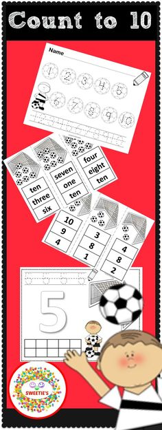 It's time to add some soccer fun to your math center!  Students will shout GOAL as they are learning to count to 10 with so many activities!  #teacherspayteachers #mathactivities