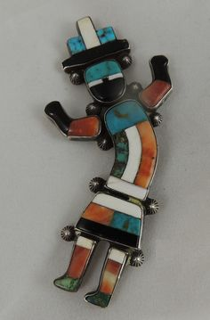 "Zuni Mary Kallestewa Rainbow Man Pin ""Book Piece"" Mosaic Inlay Beautiful 1940s"