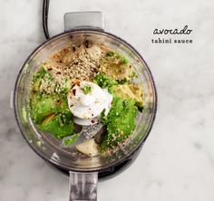 Kale Salad w/ Avocado Tahini Sauce - try the sauce! (protein/veggie plate)