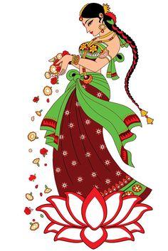Illustrator: Smita Upadhye Digital Illustration: Indian lady offering flowers to welcome created in illustrator Wedding Banner Design, Namaste Art, Wedding Symbols, Wedding Drawing, Indian Folk Art, Indian Artist, Dancing Drawings, Illustrator Cs6, Art Drawings For Kids