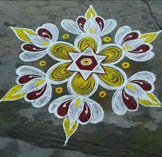Indian Rangoli Designs, Simple Rangoli Designs Images, Rangoli Designs Latest, Rangoli Designs With Dots, Rangoli Borders, Rangoli Patterns, Rangoli Ideas, Kolam Rangoli, Free Hand Rangoli Design