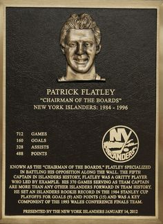 Patrick Flatley's Hall of Fame plaque.