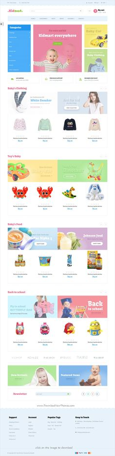 Ap Kid Mart is clean and modern design 5in1 responsive #Shopify theme for awesome #kids shop #eCommerce website to download click on image.