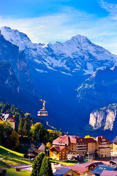 The Mannlichen cablecar in the Swiss Alps, Wengen, Canton Bern, Switzerland.