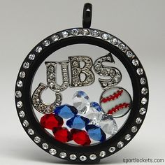 Chicago baseball themed locket necklace from SportLockets.com. Customize with your own letters!