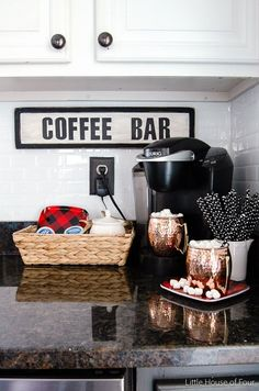 Very Merry Christmas Home Tour- Little House of Four. LOVE the / Coffee Bar sign, the tiny hint of red on the little plate & the simple basket. Coffee Bar Design, Coffee Bar Home, Home Coffee Stations, Coffee Corner, Coffee Bars, Coffee Time, Coffee Shop, Coffee Maker, Home Bar Decor