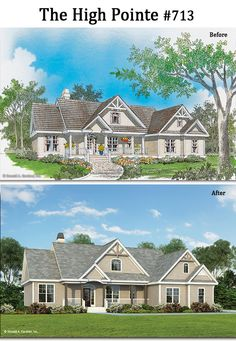 Take a closer look at the new rendering for The High Pointe #713! http://www.dongardner.com/house-plan/713/the-high-pointe. #BeforeandAfter #FrontExterior #House #Home