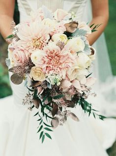 Soft Pink Dahlias, Pink Roses, Cream Roses, Ivory English Garden Roses, Dusty Miller, & Other Green Foliage + Painted Metallic Rose Gold Eucalyptus Leaves****