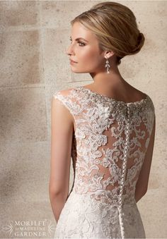 Wedding Dress 2702 Embroidered Appliques on Net Over Chantilly Lace with Crystal Beading | Mori Lee Gowns | Mori Lee Bridal | Available at Lulu's Bridal Boutique | Dallas, Texas